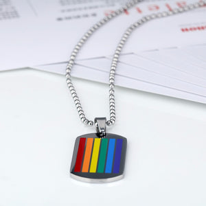 Rainbow Pride Dog Tag Necklace