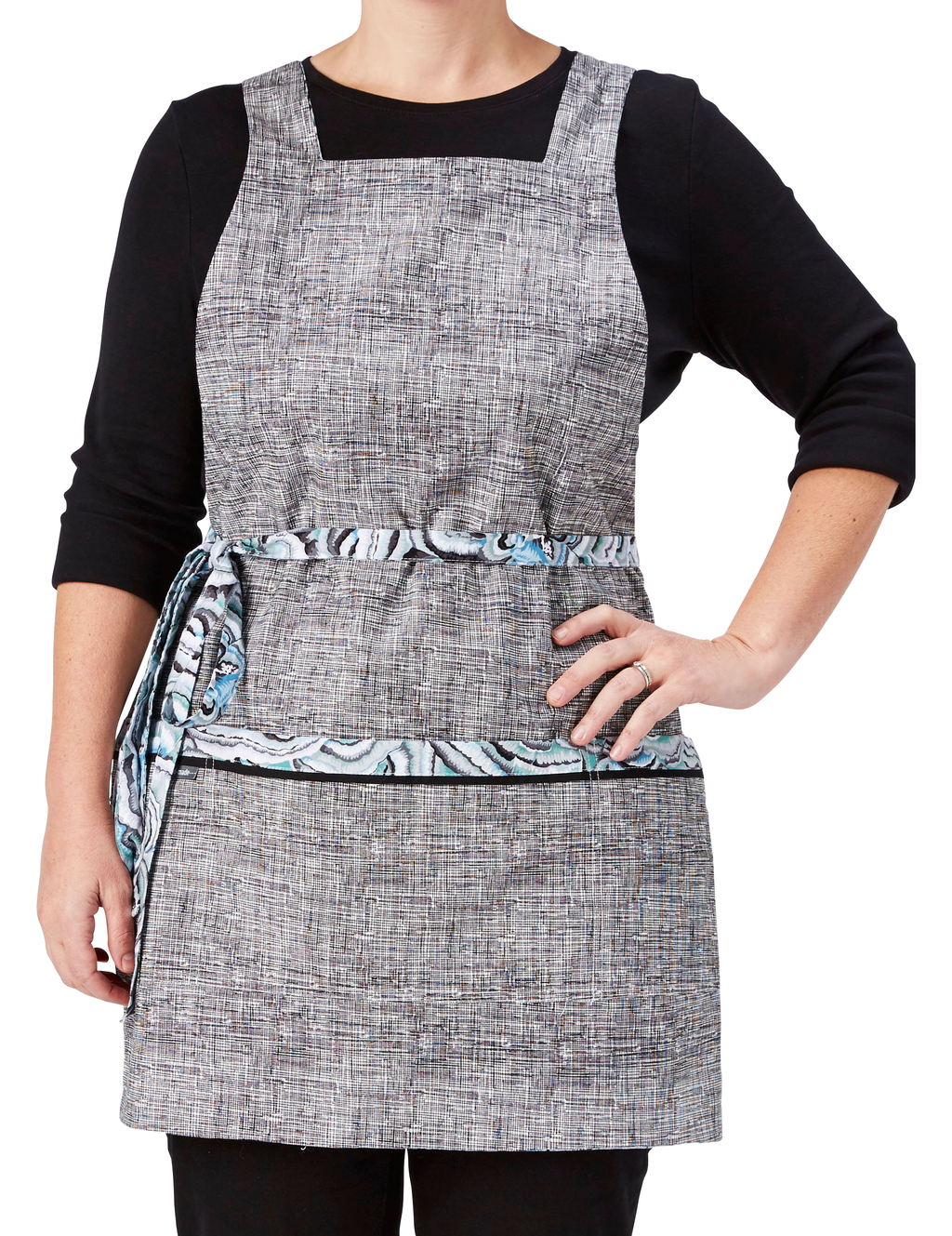 Woman's Reversible Kitchen Apron in Black & White Print