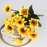Silk Decorative Sunflower Bouquet-home accent-wanahavit-14 heads samll-wanahavit