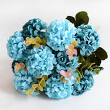 10 Head Artificial Ball Chrysanthemum Silk Flower-home accent-wanahavit-Blue-wanahavit