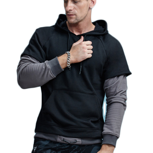 False Two Piece Hipster Hooded Sweatshirt-men-wanahavit-Black-M-wanahavit