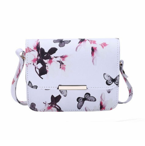 Luxury Retro PU Leather Shoulder Bag with Flower and Butterfly Printed-women-wanahavit-White-Mini(Max Length<20cm)-wanahavit