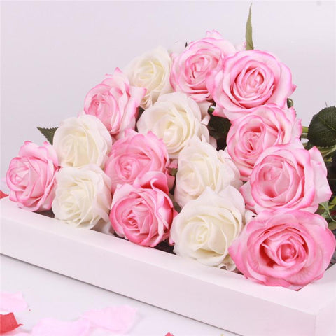15pcs Realistic Artificial Rose Bouquet