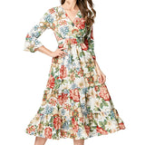 Bohemian Floral Chiffon Flare Sleeve Dress-women-wanahavit-Blue-S-wanahavit