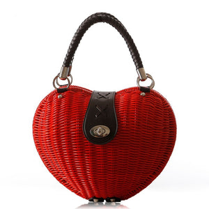 Designer Heart Shape Luxury Handmade Rattan Handbag-women-wanahavit-Red-wanahavit