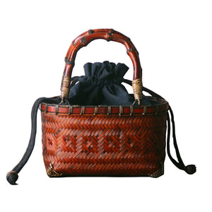 Chinese Style Rattan Woven Handbag with Bamboo Handle-women-wanahavit-Brown-wanahavit