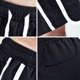 Casual Jogger Loose Striped Short-men fitness-wanahavit-Black-S-wanahavit