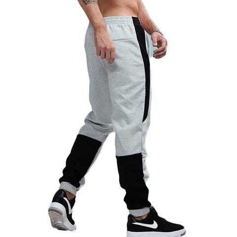 Thick Striped Patchwork Jogger Pants-men fashion & fitness-wanahavit-Gray-S-wanahavit