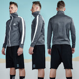 Classic Zip Up Turtleneck Sweatshirt-men fitness-wanahavit-Gray-M-wanahavit