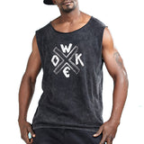 Woke Crisscross Print Sleeveless Shirt-men fashion & fitness-wanahavit-Black-M-wanahavit