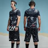 Abstract Splashed Printed Compression Shirt-men fitness-wanahavit-Black-M-wanahavit