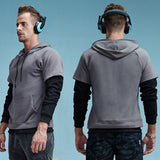 False Two Piece Hipster Hooded Sweatshirt-men-Gray-M-wanahavit