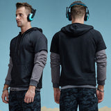False Two Piece Hipster Hooded Sweatshirt-men-Black-M-wanahavit