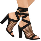 Bandage Flock Cross Strap Lace Up Meshed High Heels-women-wanahavit-Black-5.5-wanahavit