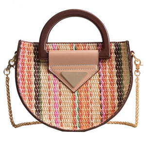 Bohemian Striped Round Straw Bags-women-wanahavit-Multi-Mini(Max Length<20cm)-wanahavit