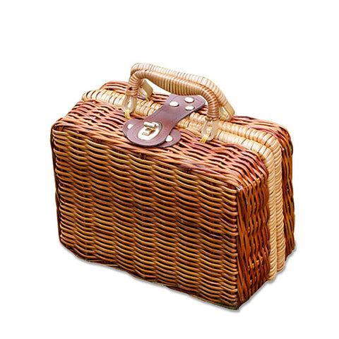 Rattan Retro Box Trunk Tote Handbag