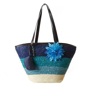 Hawaii Striped Pattern Shoulder Beach Bag-women-wanahavit-wanahavit