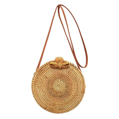 Bali Rattan Butterfly Buckle Shoulder Bag