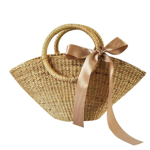 Vintage Rattan Woven Ribbon Rattan Bag-women-wanahavit-wanahavit