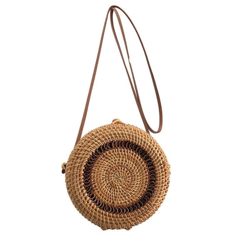 Small Outlined Flap Round Straw Rattan Bag-women-wanahavit