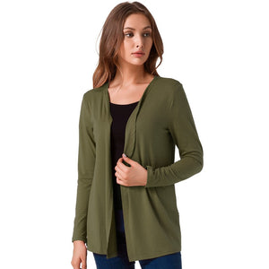 Solid Slim Cotton Long Sleeve Cardigan-women-wanahavit-Green-L-wanahavit