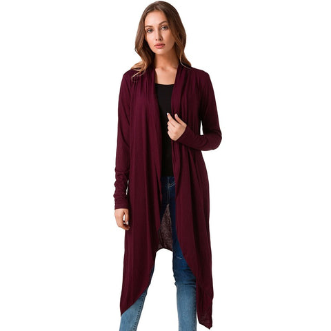 Asymmetrical Casual Long Cardigan-women-wanahavit-Red-L-wanahavit