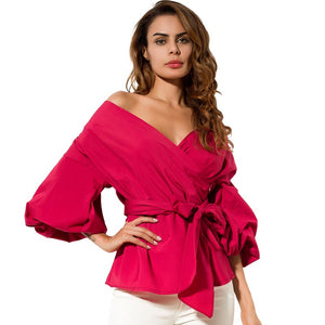 Sexy Off Shoulder Lantern Sleeve Wrap Blouse-women-wanahavit-Red-S-wanahavit