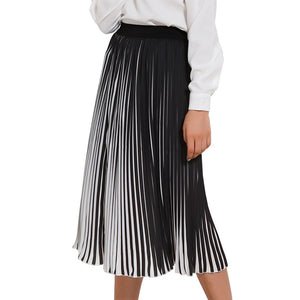 Casual Pleated Black & White Striped Long Skirt-women-wanahavit-Striped-One Size-wanahavit