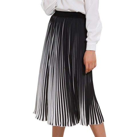 Casual Pleated Black & White Striped Long Skirt