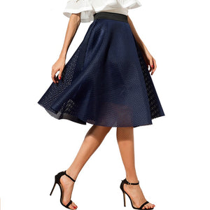 Casual Hollow Out Solid Color Knee Length Skirt-women-wanahavit-Blue-One Size-wanahavit