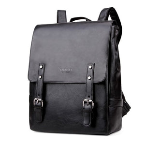 Casual Leather With Magnetic Buckle Backpack-men-wanahavit-black-wanahavit