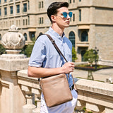 Simple Plain Design Classic Leather Shoulder Bag-men-wanahavit-Brown-wanahavit