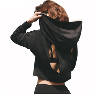 Breathable Backless Patched Hooded Long Sleeve-women fitness-wanahavit-Black-L-wanahavit
