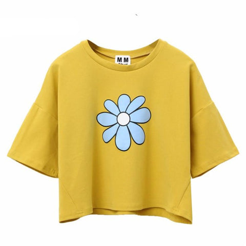 Floral Print Harajuku Style Crop Top Shirt-women-wanahavit-Yellow-One Size-wanahavit