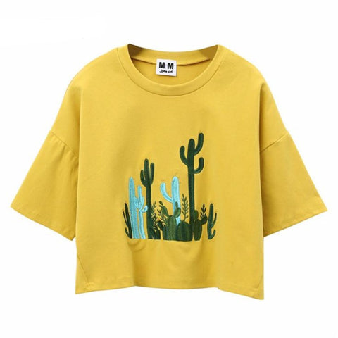 Cactus Embroidery Harajuku Style Crop Top Shirt-women-wanahavit-Yellow-One Size-wanahavit