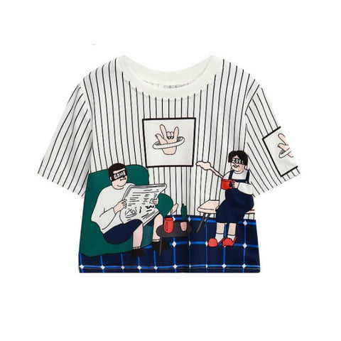 Characters Print Harajuku Style Crop Top Shirt-women-wanahavit-White-One Size-wanahavit