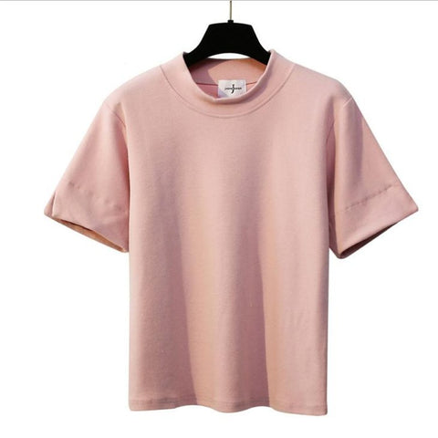 Casual Cotton Solid Color Loose Tees