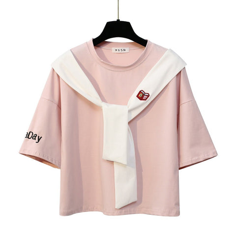 Sailor Tie Bow Patchwork Embroidery Tees-women-wanahavit-Pink-One Size-wanahavit