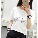 Bicycle Embroidery Harajuku Style Cotton Shirt