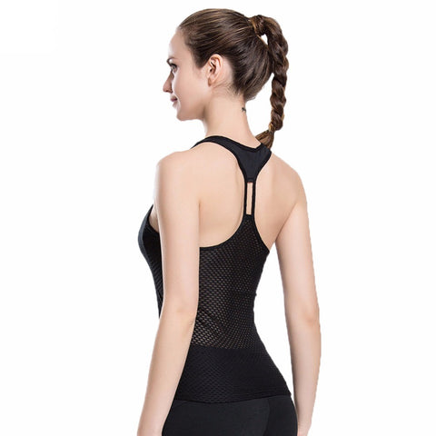 Slim Fit Hollow Out Mesh Back Sleeveless