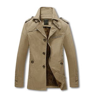 Solid Color Slim Fit England Trench Coat-unisex-wanahavit-Khaki-M-wanahavit
