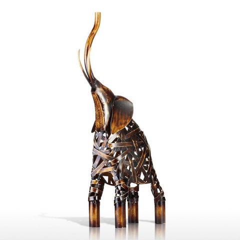 Iron Vintage Weaving Elephant Figurine
