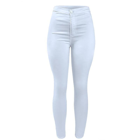 High Waist Casual Fashion Stretch Skinny Denim Pants-women-wanahavit-white-XS-wanahavit