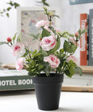 Artificial Rose Bonsai with Black Vase-home accent-wanahavit-Pink-wanahavit