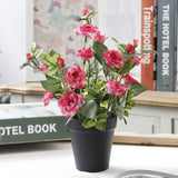 Artificial Rose Bonsai with Black Vase