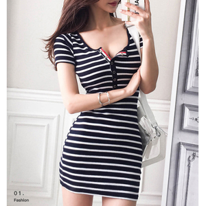 Striped V-Neck Summer Casual Dress-women-wanahavit-L-wanahavit