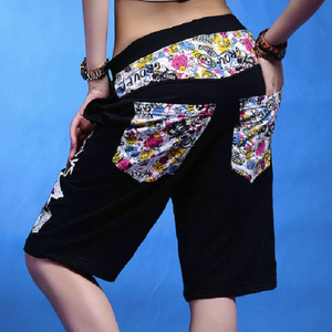 Doodles Printed Hip Hop Dance Loose Harem Shorts-women-wanahavit-Black-wanahavit