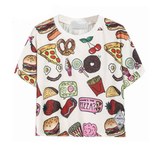 Casual Fast Food Print Crop Top Tees-women-wanahavit-as pcture-L-wanahavit