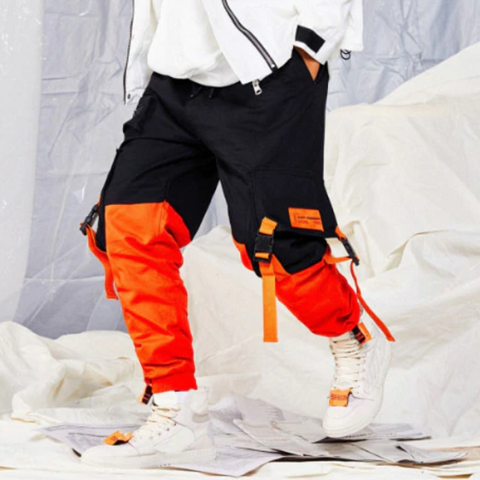 Hip Hop Patchwork Elastic Waist Cargo Sweatpant-men fashion & fitness-wanahavit-black-M-wanahavit