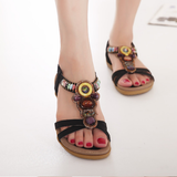 Bohemian Flat Ethnic String Strap Sandals-women-wanahavit-Black-5-wanahavit